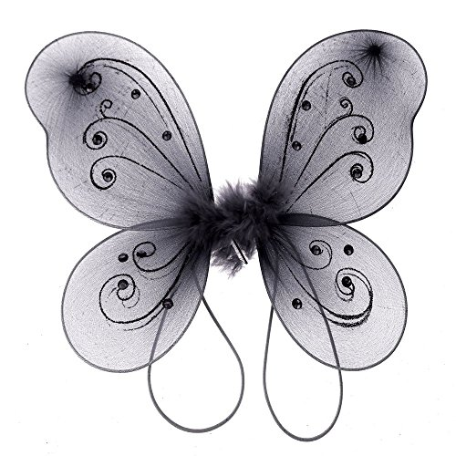 Homeford Firefly Imports Organza Nylon Butterfly Wings with Glitters, 12-Inch, -