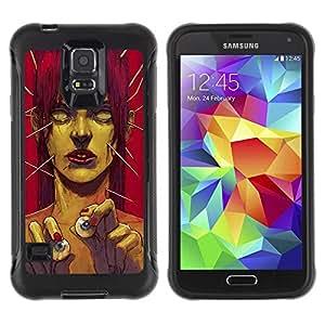 All-Round híbrido Heavy Duty de goma duro caso cubierta protectora Accesorio Generación-II BY RAYDREAMMM - Samsung Galaxy S5 SM-G900 - Zombie Art Eye Balls Green Monster Redhead