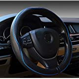 Rueesh Car Steering Wheel Cover - Genuine Leather Heavy Duty, Durable, Sporty Wave Pattern, Universal 15 Inch - Black and Blue Line
