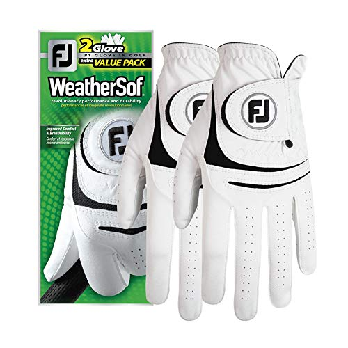New 2017 FootJoy WeatherSof Mens Golf Gloves (2 Pack) (Medium Large, Worn on Left Hand)