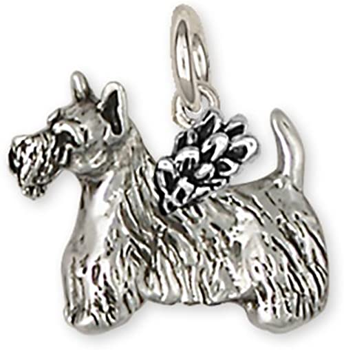 STERLING SILVER SCOTTISH TERRIER DOG SCOTTIE DOG CHARM WITH BOX CHAIN NECKLACE