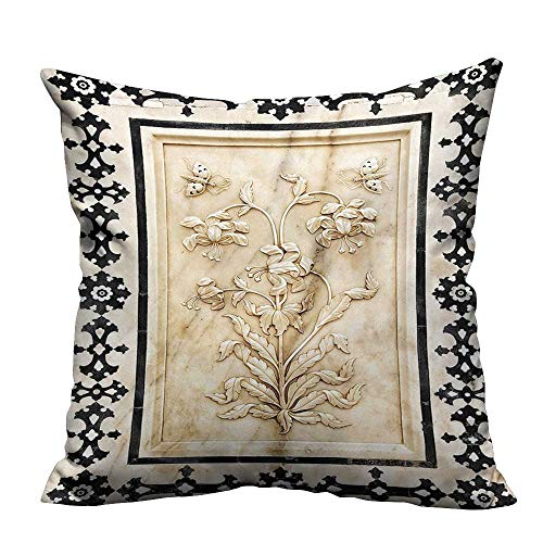 YouXianHome Lovely Cushion Covers Moroccon Tile Traditional Figures Marble Digital Printed Wall Black Beige Resists Stains(Double-Sided Printing) 16x16 inch