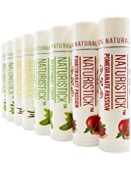 All Natural Beeswax Lip Balm - 8 Pack Gift Set by Naturistick...
