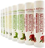 All Natural Beeswax Lip Balm - 8 Pack Gift Set by Naturistick, Best Moisturizing Chapstick for Dry, Chapped Lips with Healing Aloe Vera, Vitamin E, Coconut Oil - for Men, Women and Kids - Made in USA