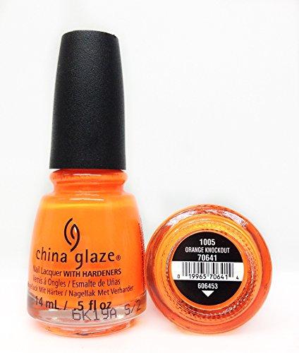 Glaze Polish Nail Orange China - China Glaze Nail Lacquer, Neon Orange Knockout, 0.5 Fluid Ounce