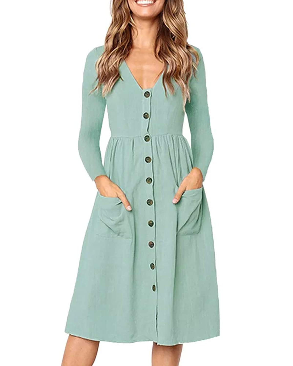 87673a9f735 Dellytop Women s V Neck Long Sleeve Button Down Dress Casual Pocketed A  Line Midi Dresses Super lightweight and easy to wear