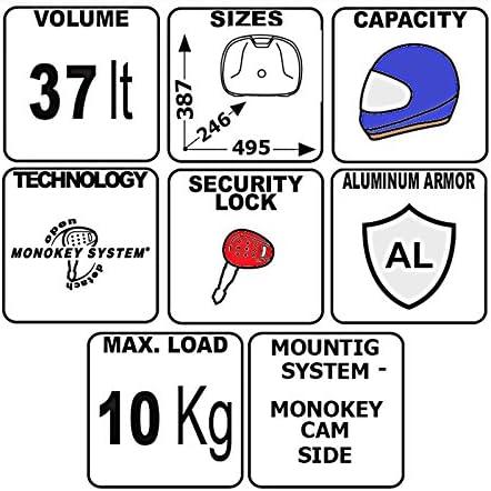 Seitenkoffer Suzuki V-Strom 650 04-16 Givi Monokey Trekker Outback OBK37A Aluminium silber