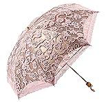 niceEshop(TM) Compact Lace Wedding Parasol Folding Travel Sun Umbrella UV Block (Pink)