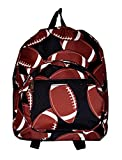11-inch Mini Backpack Purse, Zipper Front Pockets Teen Child (Football Print)
