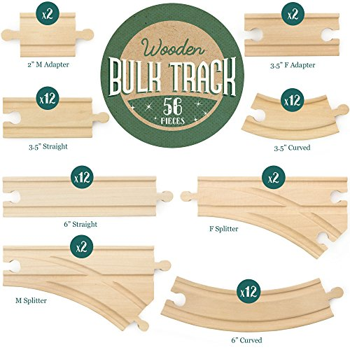 56-piece Bulk Value Wooden Train Track Pack - Compatible with All Major Toy Train Brands by Conductor Carl