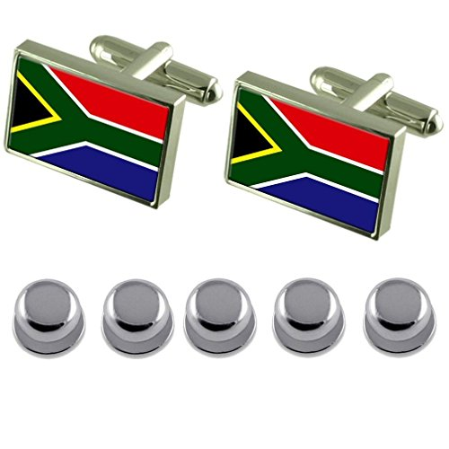 Shirt Dress Studs South Africa Flag Cufflinks by Select Gifts