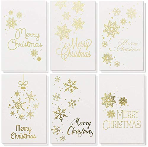 48-Pack Merry Christmas Greeting Cards Bulk Box Set - Winter Holiday Xmas Greeting Cards in 6 Gold Foil Designs, Envelopes Included, 4 x 6 Inches
