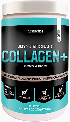 Collagen+ Peptides Powder & Prebiotic Dietary Fiber Supplement - Grass-Fed, Non-GMO, Hydrolyzed and Gluten-Free, Natural Weight Loss Support, Collagen with Benefits! (9 Oz) - 32 (Collagen Weight Loss)