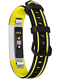 Smart Bracelet Sports Silicone Watch with Two-Color Silicone Replacement Wrist Strap for Fitbit Alta Black and Yellow