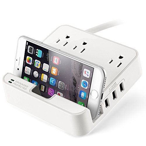 UL LISTED Charger Station - EZOPower Desktop Charging Power Strip Surge Protector with 3 AC Outlets, 3 USB Port 6.3A and Built-in Phone/Tablet Holder Stand Slot for iPhone, iPad, Tablet - White