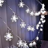 LoiStu 16ft / 40LED Christmas Snowflake String Light String Christmas Party Party Decorative Light String Outdoor Waterproof House Decorative Light String Interior Decoration (White)