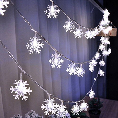 LoiStu 16ft / 40LED Christmas Snowflake String Light
