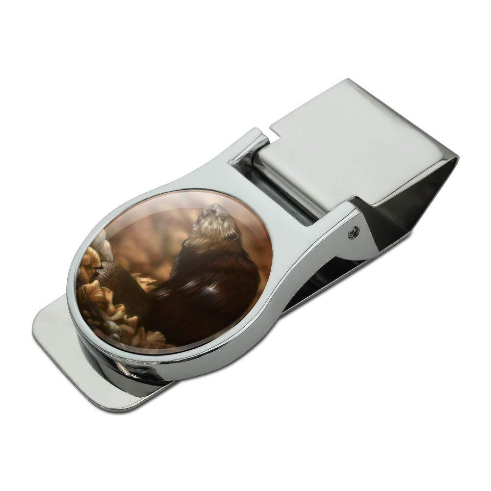 Beaver by the River Satin Chrome Plated Metal Money Clip