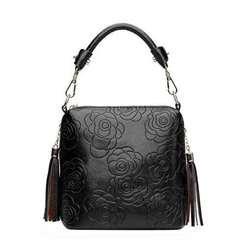 Donne Rose Floreale In Rilievo Borsa Borsa Regolabile Bag Cross-body,Blue-OneSize