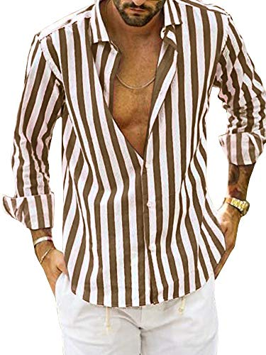 Ybenlow Mens Vertical Striped Slim Fit Long Sleeve Casual Button Down Dress Shirts (X-Large, -