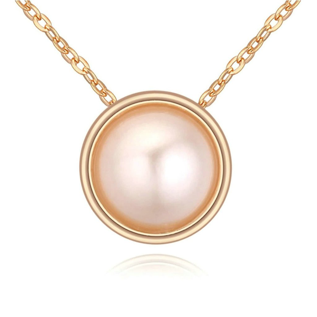 Adisaer Gold Plated Pendant Necklaces for Women Cubic Zirconia Round Pearl Rose Gold