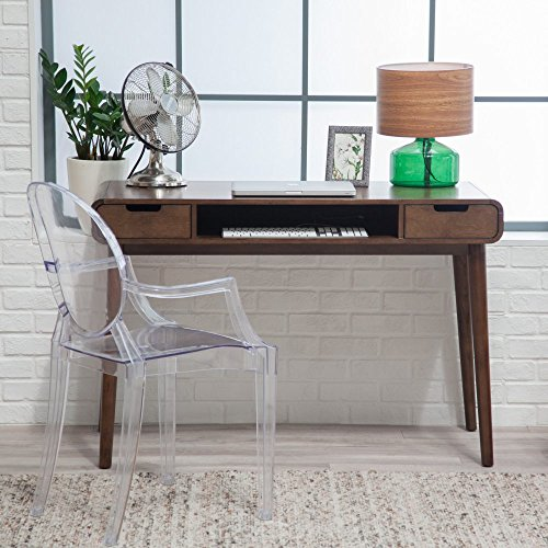 Brown Vintage Wood Writing Desk | Perfect Stylish Mid Century Home Office or College Student Dorm Table for Your Computer, PC, Laptop, Monitor, Books and Supplies by Gramercy Home (Image #7)