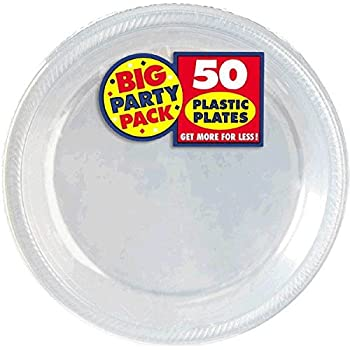 Amazon.com: Amscan Big Party Pack Plastic Lunch Plates, 10.5-Inch ...