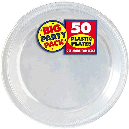 Amscan Big Party Pack Plastic Lunch Plates, 10.5-Inch, Clear, 50 Count