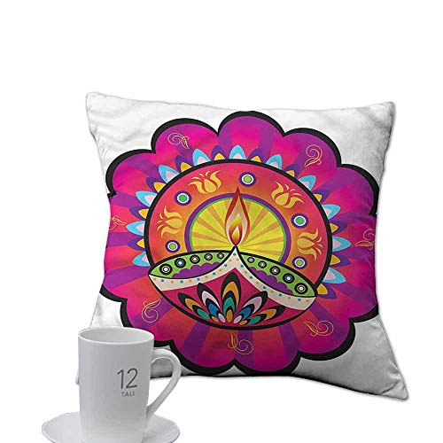 (ArrDecor Pillowcases Covers with Zipper,Diwali,Paisley Festive Design,Throw Pillows for Bed,W 18