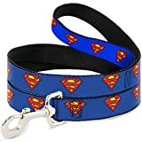 """Buckle-Down Dog Leash Superman Shield Blue Available In Different Lengths And Widths For Small Medium Large Dogs and Cats, 6 Feet Long - 1"""" Wide"""