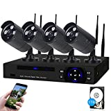 SDETER Security Camera System Wireless HD Outdoor Home Surveillance System 4 Security Cameras NVR Kits Pre-Installed 1TB Hard Drive Remote View Motion Dectection and Night Vision (BIack)