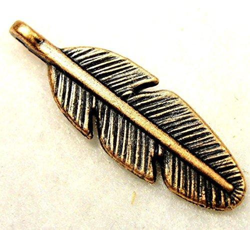 Bulgari Yellow Bracelet - 10Pcs. Tibetan Antique Copper Feather 2-Sided Charms Pendants Earring Drops W91 Crafting Key Chain Bracelet Necklace Jewelry Accessories Pendants