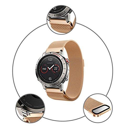 - Fullfun 230MM Milanese Magnetic Loop Stainless Steel Watch Band For Garmin Fenix Chronos (Rose Gold)