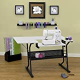 [US Stock] Anbeaut Home Indoor Adjustable Platform Sewing Machine Table Computer Desktop (Black White)