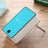 Generic Portable USB Rechargeable Mini No Leaves Handheld Air Conditioning Fan Color Blue