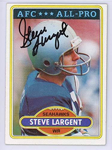 Signed Hand Largent Steve (Steve Largent Signed Auto 1980 Topps Card #450 Seattle Seahawks - Certified Authentic)
