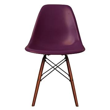 best website c3fc3 fbc41 Plastic Dining Chair with Wooden Legs Eiffel inspired Retro Scandinavian  Style (Plum, Walnut Legs)