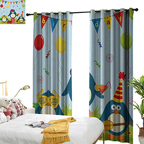 (WinfreyDecor Insulated Sunshade Curtain Kids Birthday Cartoon Style Penguin Party with Flags Cakes and Surprise Box Darkening and Thermal Insulating W96 x L84 Pale Blue and Fern)