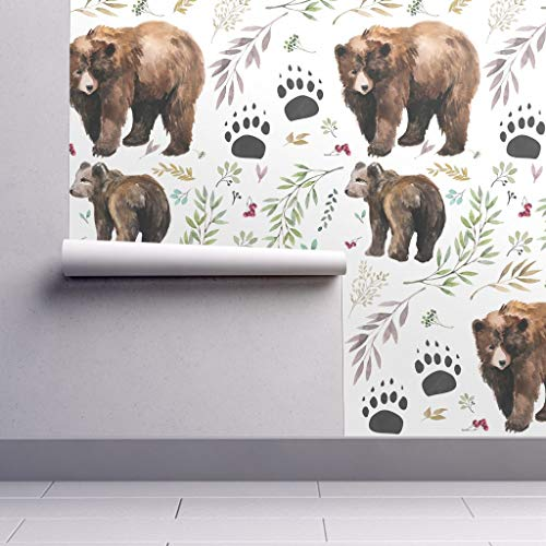 Peel-and-Stick Removable Wallpaper - Bear Woodland Bear Bear Watercolor Baby Boy Woodland Forest Animal by Shopcabin - 24in x 96in Woven Textured Peel-and-Stick Removable Wallpaper Roll
