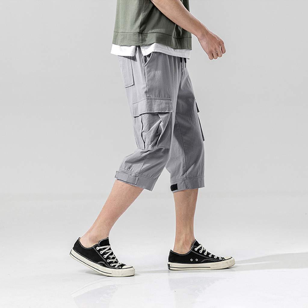 Palarn Sports Pants Casual Cargo Shorts Mens Fashion Summer Casual Pocket Solid Drawstring Cotton 3//4 Pants Trousers
