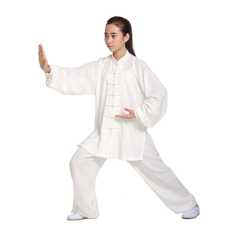 ZoobooユニセックスレディースリネンKung Fu Tai Chi Uniform Martial Arts Wear B06XKDTY22 ホワイト Large