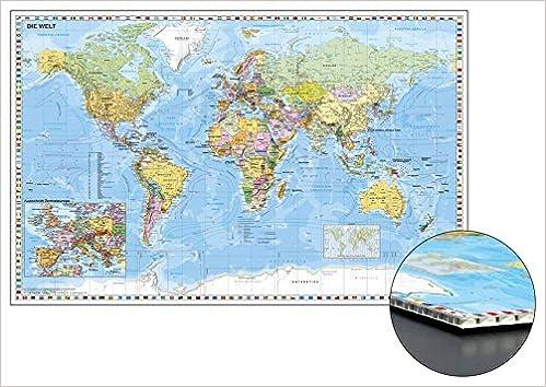 Weltkarte Mit Ausschnitt Zentraleuropa Zum Pinnen Auf Wabenplatte