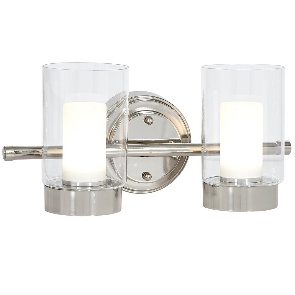 Polished Nickel Candle Light Fixture | Glass Surrounded LED Lighting Fixture | Vanity, Bedroom, or Bathroom | Interior Lighting Double Light