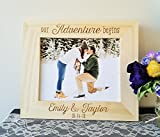 Personalized Wedding Picture Frame Engraved Wood - Our Adventure Begins - Names and Date