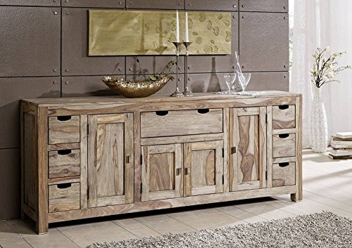 Palisander Massivholz Sideboard Sheesham Holz Möbel Nature Grey #080