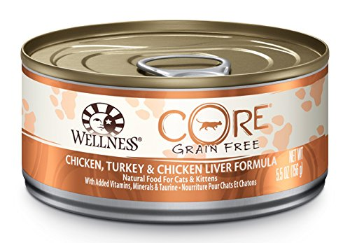 Wellness CORE Natural Canned Grain Free Wet Cat Food, Chicken & Turkey Pate, 5.5-Ounce Can (Pack of 24) (Canned Wellness Cat Food compare prices)
