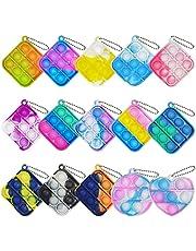 15Pcs Mini Squeeze Pop Bubble Fidget Sensory Toys, Mini Keychain Silicone Fidget Bulk Toy Relieve Anxiety Stress Office Desk Toy for Kids Adult Party Favors