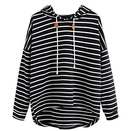 HGWXX7 Women Casual Stripe Long Sleeve Loose Jumper Sweatshirt Pullover Blouse Shirt Tops(Black,XL)