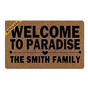 """Artsbaba Personalized Your Text Doormat Welcome To Paradise Doormats Monogram Non-Slip Doormat Non-woven Fabric Floor Mat Indoor Entrance Rug Decor Mat 30"""" x 18"""""""