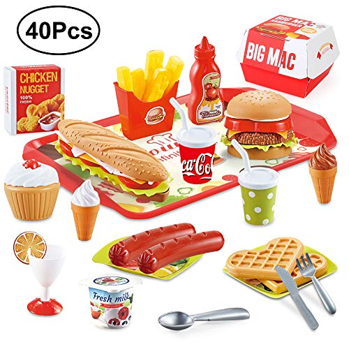 Beebeerun Play Food Toys, Pretend Play Kitchen Set, Hamburger French Fries Variety Toys Gift for Kid ,Toddlers Pretend Food Playset Children Toy Food Set (Best Food For Children)